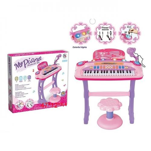 MY PIANO MUSICAL SET ПИАНИНО СО СТУЛЬЧИКОМ 6617 МИКРОФОН+USB ШНУР ХИТ!