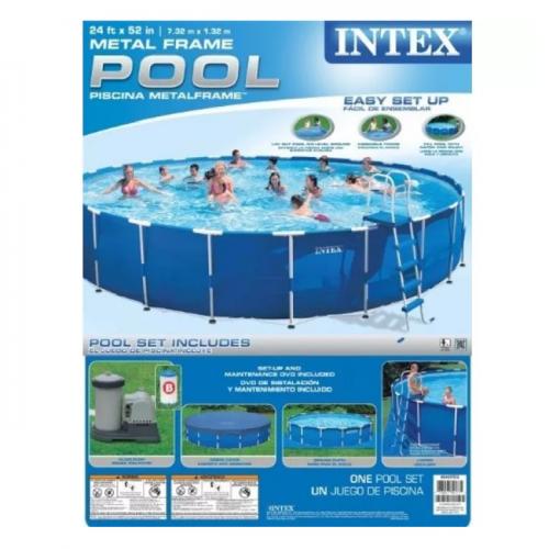 Intex 28262 Каркасный бассейн 732х132 см фильтр-насос 9463л/ч, лестница, тент, подстилка