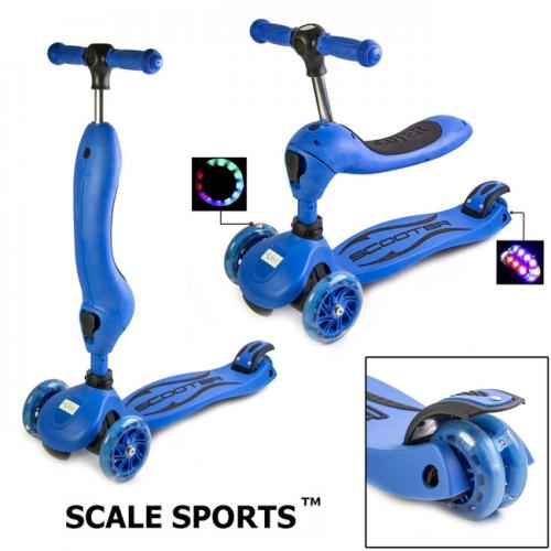 САМОКАТ 2 В 1 Scale Sports GT4107B-3 колеса светятся!