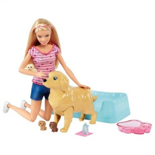 Кукла Mattel Barbie Кукла и собака с новорожденными щенками FDD43